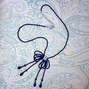 Black beaded long bow fashion necklace